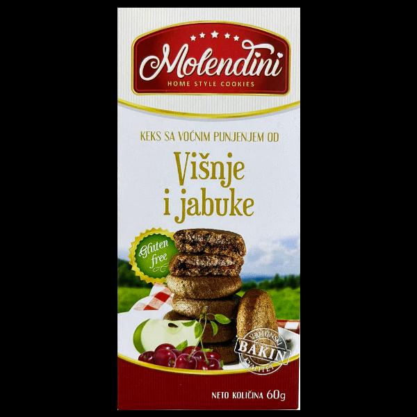 Molendini – Weiche Kekse mit Kirsche & Apfel Füllung Glutenfrei – 60g