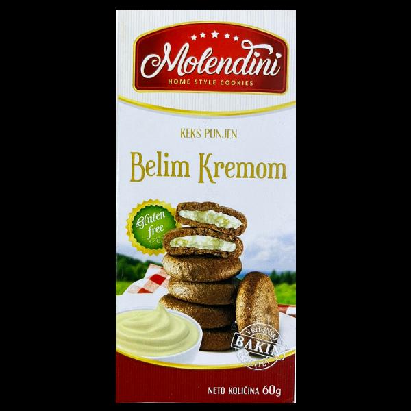 Molendini – Weiche Kekse mit weisser Cremefüllung Glutenfrei – 60g