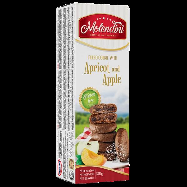Molendini – Weiche Kekse mit Aprikose & Apfel Füllung Glutenfrei – 180g