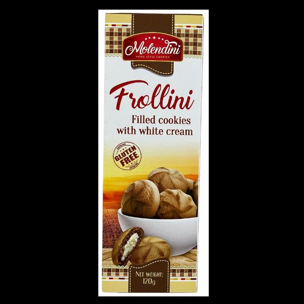 Molendini – Frollini Kekse mit weisser Cremefüllung Glutenfrei – 120g