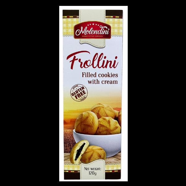 Molendini – Frollini Kekse mit brauner Cremefüllung Glutenfrei – 120g