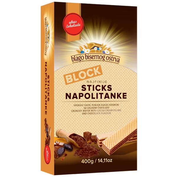 Blago Bisernog Ostrva – Sticks Napolitanke Kakao – 400g