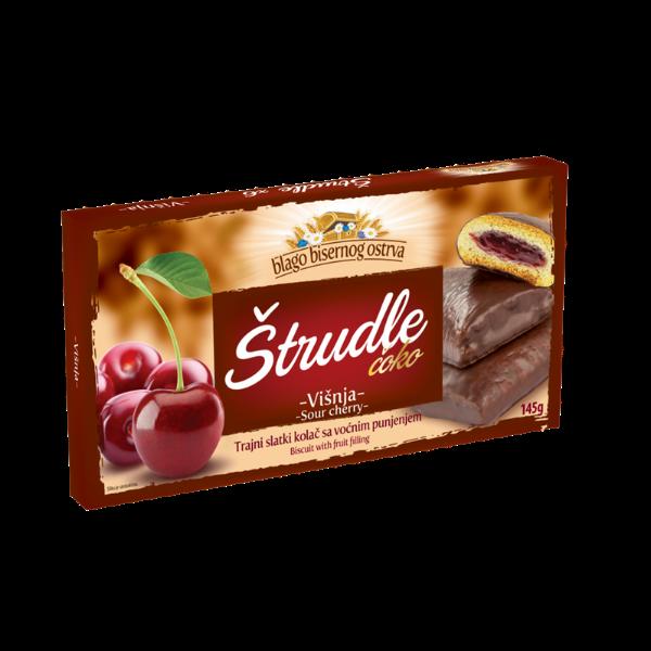 Strudlice coko – Strudel mit Saure Kirschen Füllung und Schokoladen-Überzug – 252g