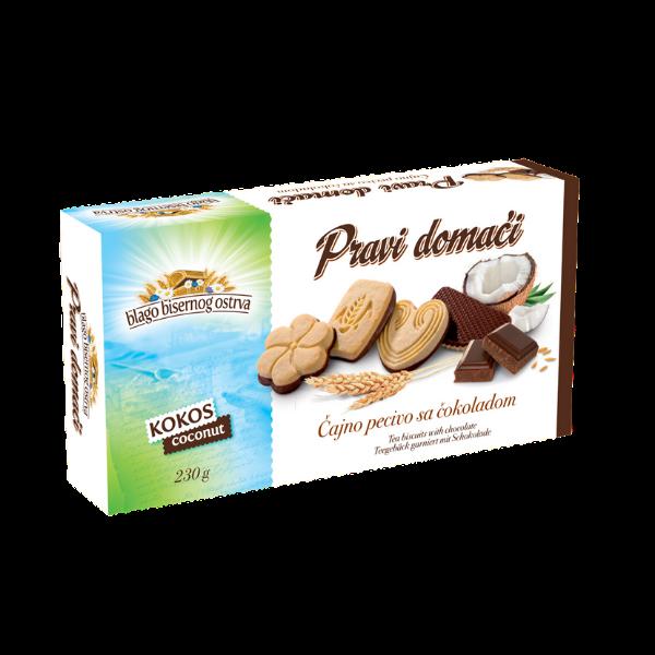 Pravi domaci – Kokos – Teegebäck garniert mit Schokolade – 230g
