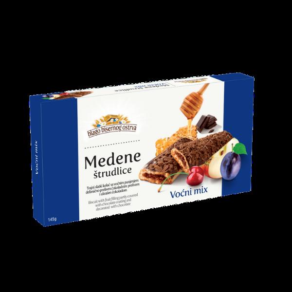 Medene strudlice – Strudel mit Fruchtmix Füllung und Schokoladen-Überzug – 145g